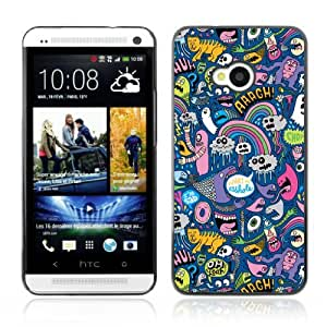 Designer Depo Hard Protection Case for HTC One M7 / Cool Psychedelic Graffiti Pattern