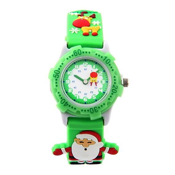 Reloj de pulsera Aprendizaje Infantiles Cartoon Niños Niñas de Cuarzo 3D Analógico - Papá Noel Navidad