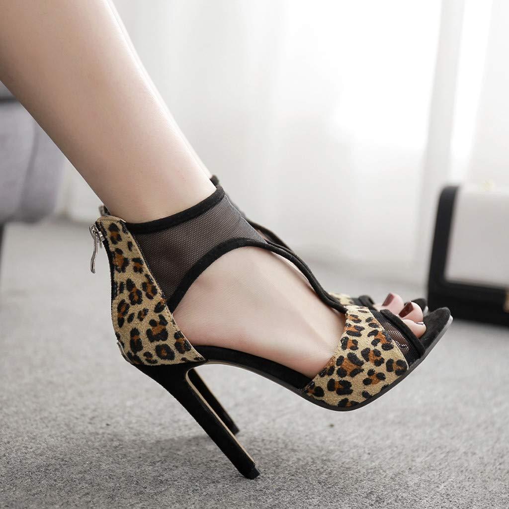 e3637c3cbab61 Amazon.com: Vibola Women Leopard High Heel Sandals,Ladies Flock Mesh ...