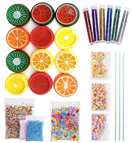 EDSports Magic Crystal Fruit Slime Kits Supplies-12 Pack Fruit Slime Plus Foam  Balls,Fishbowl Beads,Giltter Shake Jars,Fruit Face Decoration,For Girls/Kids,Students  Classroom DIY,Birthday Party