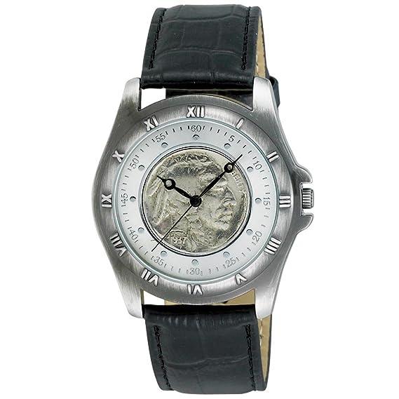 August Steiner Buffalo níquel coleccionistas Moneda Redonda de los Hombres Reloj: Amazon.es: Relojes