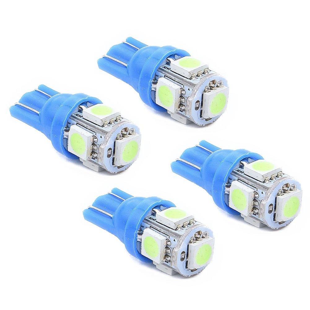 TOOGOO(R) 4x T10 501 W5W 5 SMD 5050 Xenon LED Side Interior Wedge Light, Blue Body - Ice blue Light