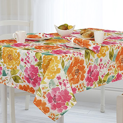 Casual Living by Newbridge Evelyn Indoor Outdoor Polyester Table Linens, 60-Inch by 120-Inch Oblong (Rectangle) (Oblong Flower)