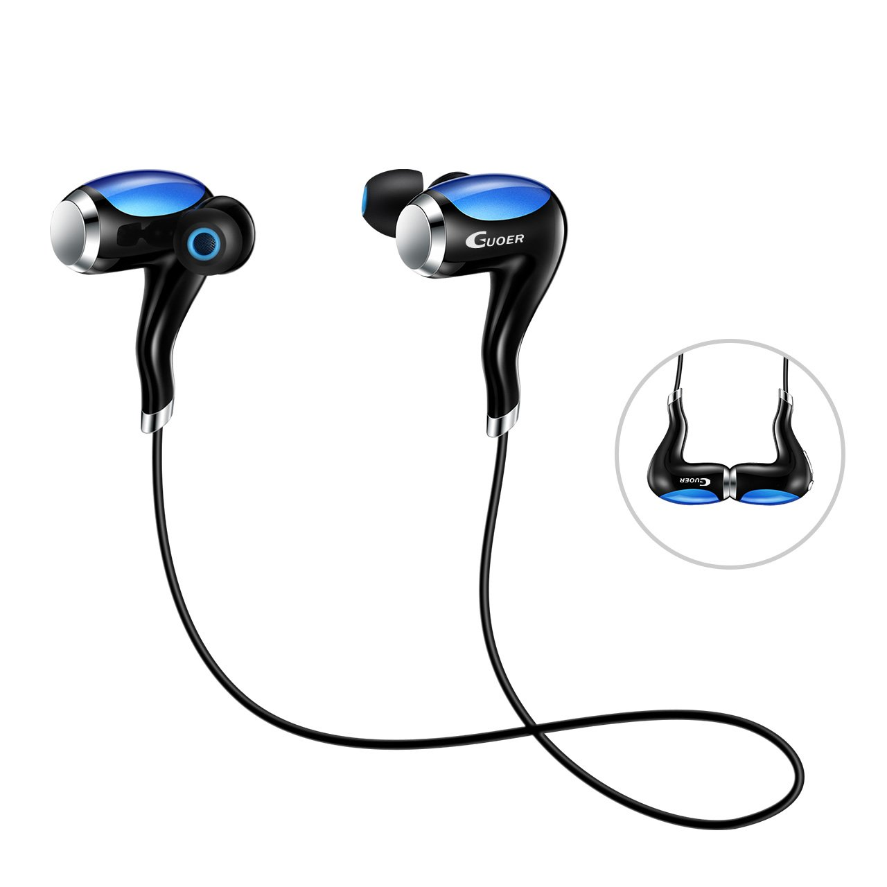 Guoer Bluetooth 4.1 Earphone, Wireless Stereo Headphone with Built-in Microphone, Touch Sensitive Controls for Android Smartphones Secure Fit for Sport(Blue)