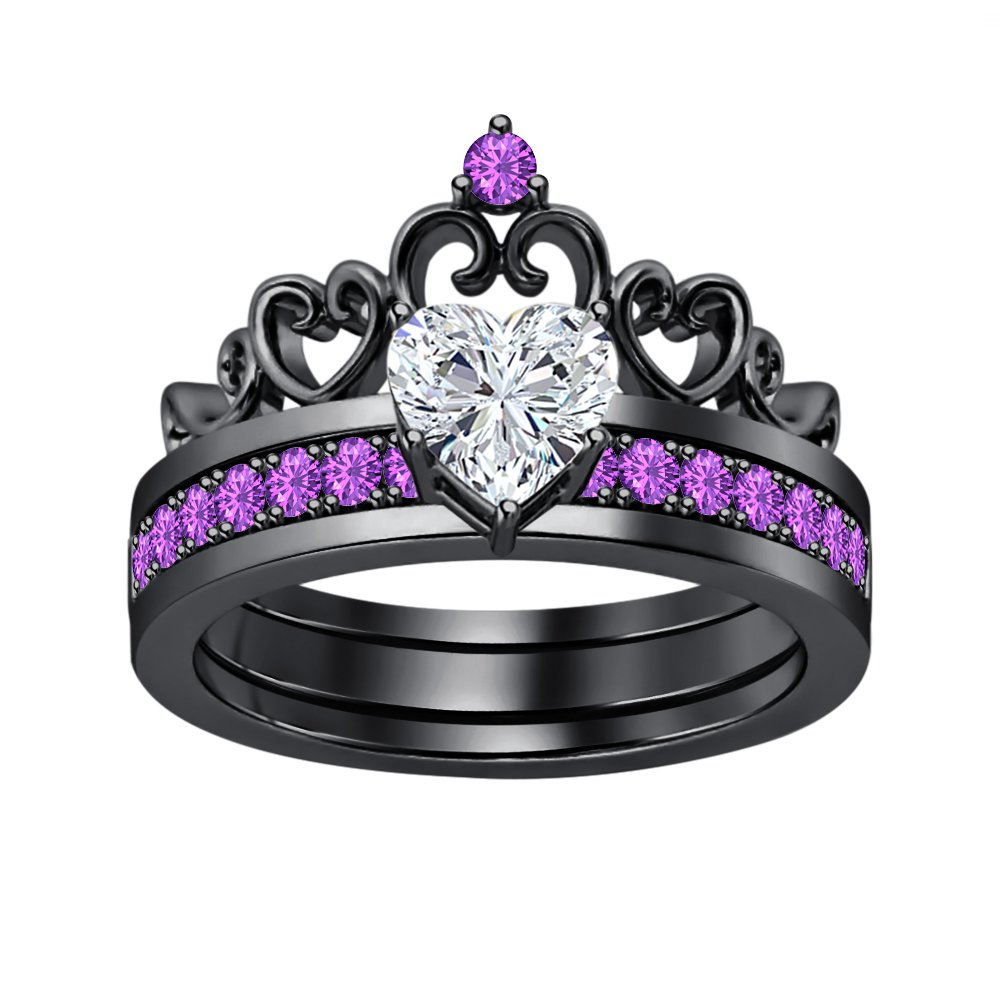 Lovely 1.64 CTW Heart Shape White Sapphire With Purple Amethyst Princess Crown Engagement Wedding Ring Set Black Gold Plated