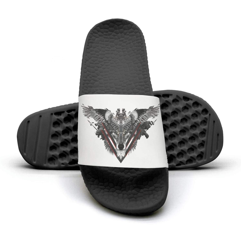 Mens Slides Shoes Unisex Fighting Warrior Wolf Sandal Slip Resistance Outdoor Flip Flops