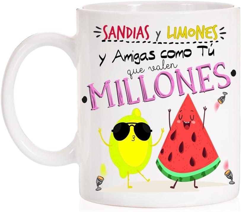 Taza Sandías y Limones y Amigas como tú Que Valen Millones. Taza Regalo para Amigas