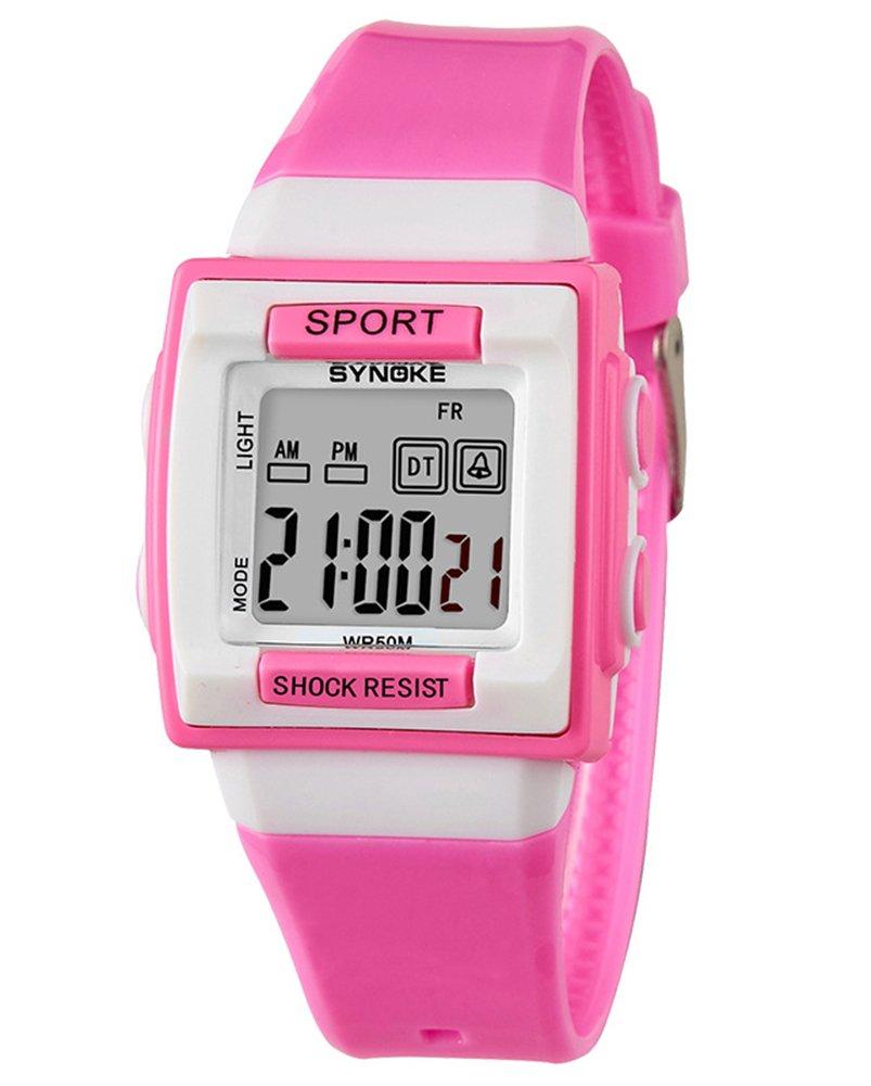 Cheamlion Kids Pink Waterproof Elastic Chronograph Digital Watch for Girls