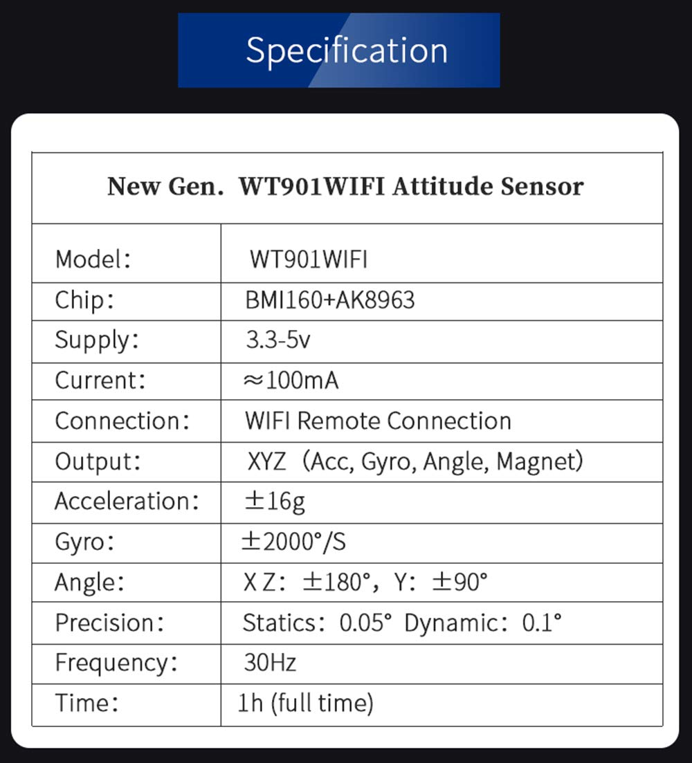 WitMotion WT901WIFI AHRS MPU9250 9-axis Accelerometer, 3-axis Angular Velocity+Acceleration+Angle+Magnet Field (UDP + TCP Mode, WiFi Connection, Compatible with PC and Android) for Arduino and More