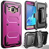 Galaxy J3(2016) Case / J3 V / Samsung Galaxy Amp Prime Case / Express Prime Case, KASEMI [Built in Screen Protector] Dual Layer Protection Locking Belt Swivel Clip Holster with Kickstand -Hot Pink