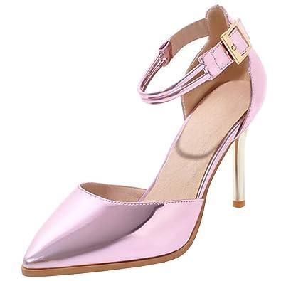 5e0e364dd1bdb8 Artfaerie Damen Stiletto High Heels Sandalen Riemchen Pumps mit Schnalle  und Spitze Ankle Strap Elegante Hochzeit