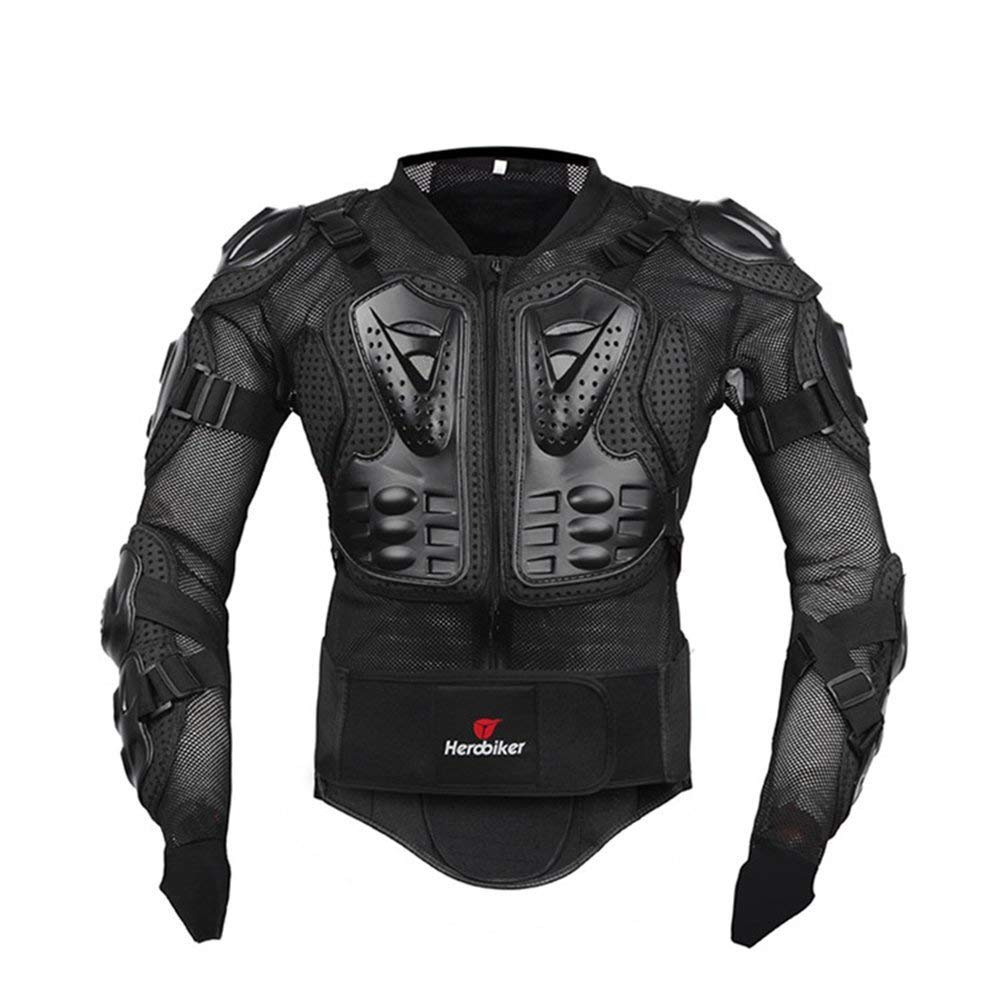 HEROBIKER Motorcycle Full Body Armor Jacket spine chest protection gear Motocross Motos Protector Motorcycle Jacket 2 Styles (XXXXXL, Black) by HEROBIKER