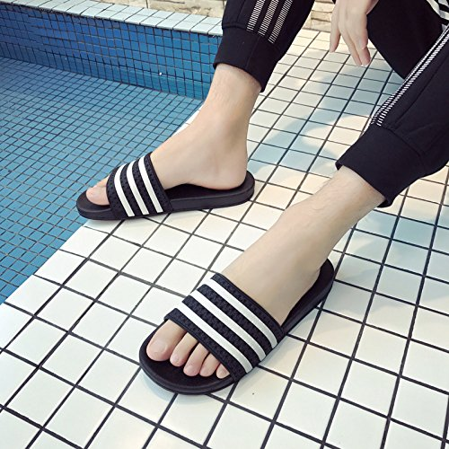 Anti Summer 44 Thick Slippers Inside Slip and Sand 43 The Outside Men Stripe Women Cool Black fankou Home and Slippers q4CwU