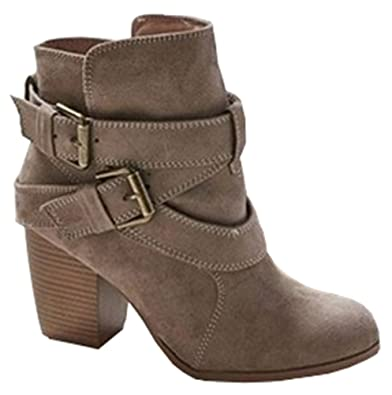 Women's Trendy Round Toe Ankle High Cross Over Strap Buckle Stacked Heel Boots