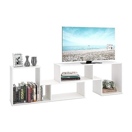 DEVAISE White Wood TV Stand Corner Bookshelf Display Bookcase Entertainment Center Unit Showcase For 50quot