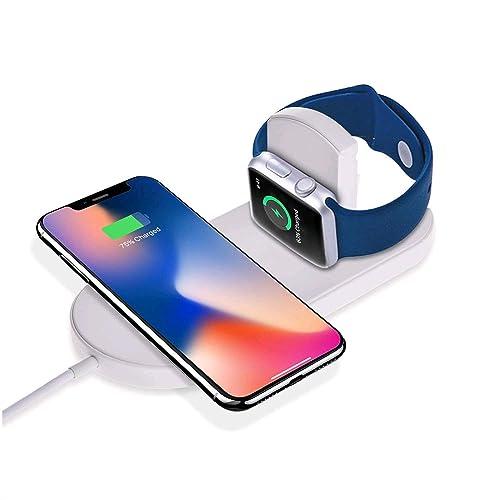 Cargador Inalámbrico , Sararoom 2 en 1 Qi Cargador Inalámbrico Rápido Funciona con Iwatch 1 2 3 Iphone 8 Iphone X , Sumsung S6 / S6 Edge / Note 5 / S7 / S7 Edge / S8 / S8 + / Note 7 / Note 8 (200)