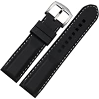 YISUYA Correa para reloj, negra, 24 mm, caucho de silicona con hebilla de acero inoxidable, impermeable, 2.4 cm de ancho…
