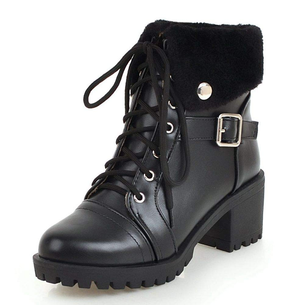 colours and striking replicas new DecoStain Women's Classic Lace Up Block Heel Winter Short Boots with Fur  Shoes Keep Warm Ankle Boots