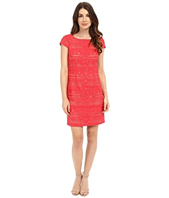 4ac37ad6 Laundry by Shelli Segal Women's Texcoco Embroidered T-Body Dress with Lace  Detail Coral Rage