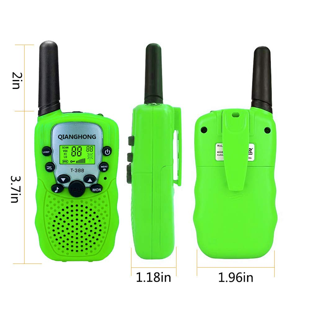 Qianghong T3 Kids Walkie Talkies 3-12 Year Old Children's Outdoor Toys Mini Two Way Radios UHF 462-467 MHz Frequency 22 Channels - 1 Pair Green by Qianghong (Image #4)