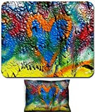 Luxlady Mouse Wrist Rest and Small Mousepad Set, 2pc Wrist Support design IMAGE: 23193338 mottled spray painted with dripping texture and orange heart