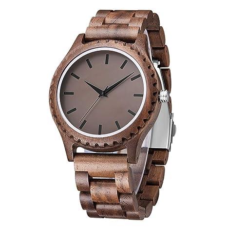Ckeyin Reloj de Madera, Reloj de Pulsera de Hombre de Reloj Analógico de Cuarzo Reloj