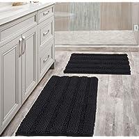 Extra Thick Striped Bath Rugs for Bathroom - (Set of 2) Anti-Slip Bath Mats Soft Plush Chenille Yarn Shaggy Mat Living…