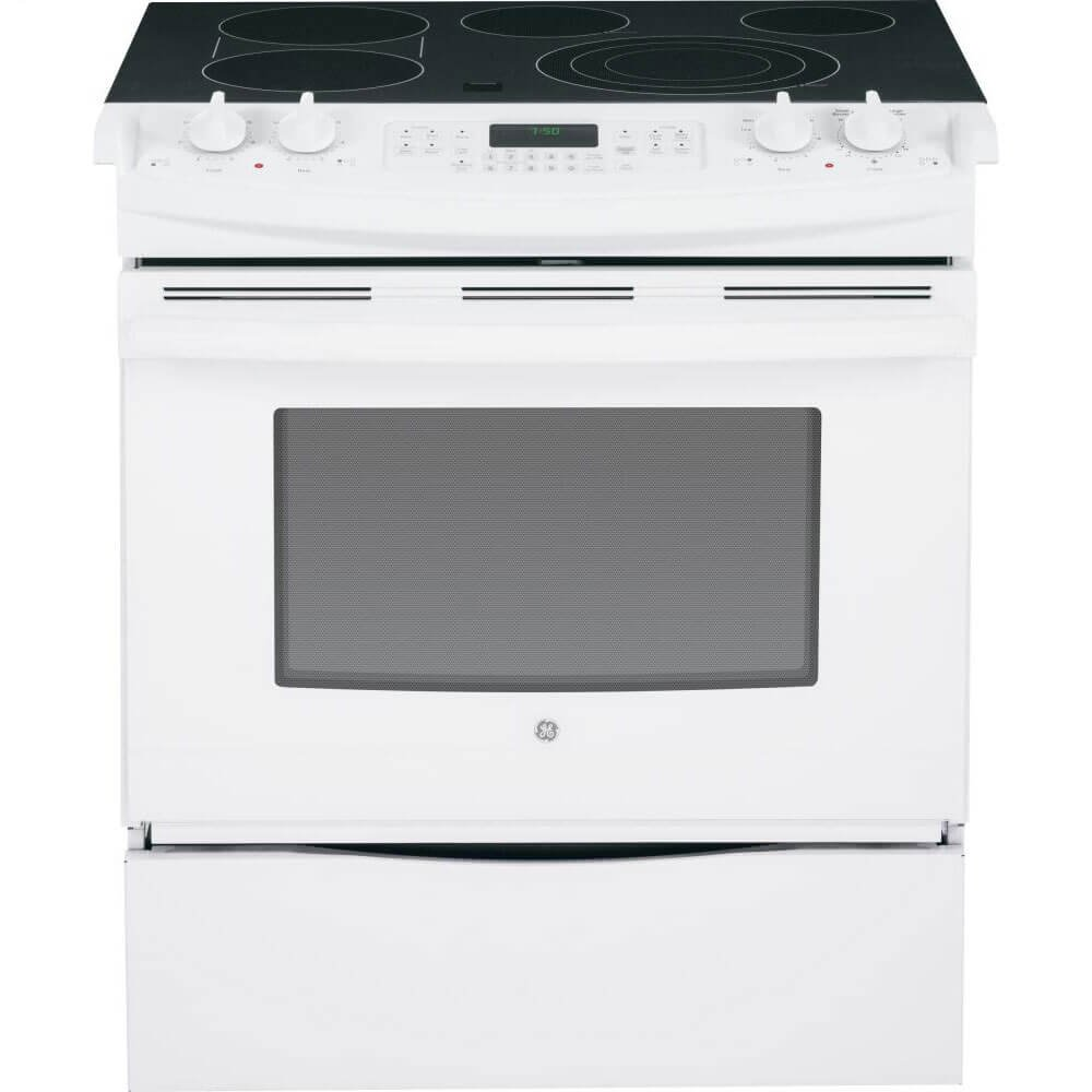 GE JS750DFWW 30'' White Electric Slide-In Smoothtop Range - Convection