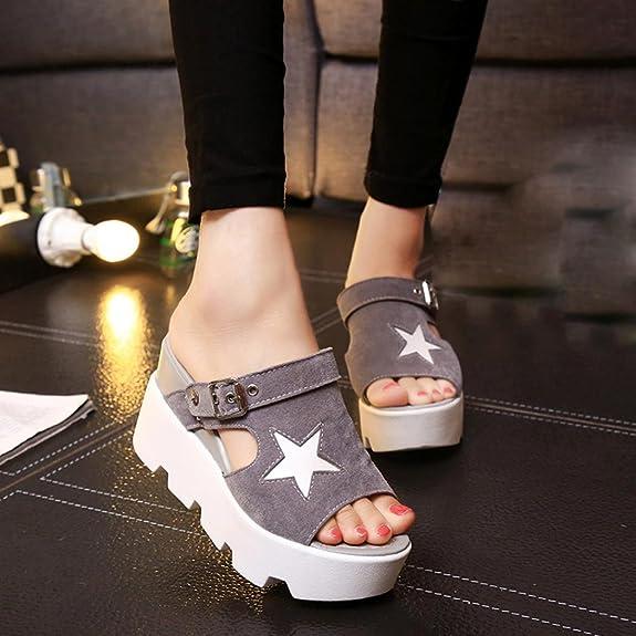 Webla Frauen Fisch Mund Lässig Schuhe Platform Wedges Fünf-Sterne Sandalen  Schuhe (36, Gray): Amazon.de: Schuhe & Handtaschen