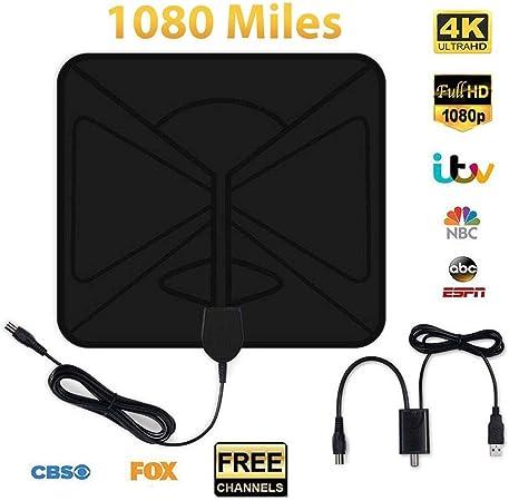 Banane Antena de TV para Interior, 1080 Millas de Alcance, 0,5 mm, con Amplificador extraíble, 4K 1080P Ultra HD, Mayor recepción y transmisión Uniforme, señales DVB-TV (10 pies): Amazon.es: Hogar