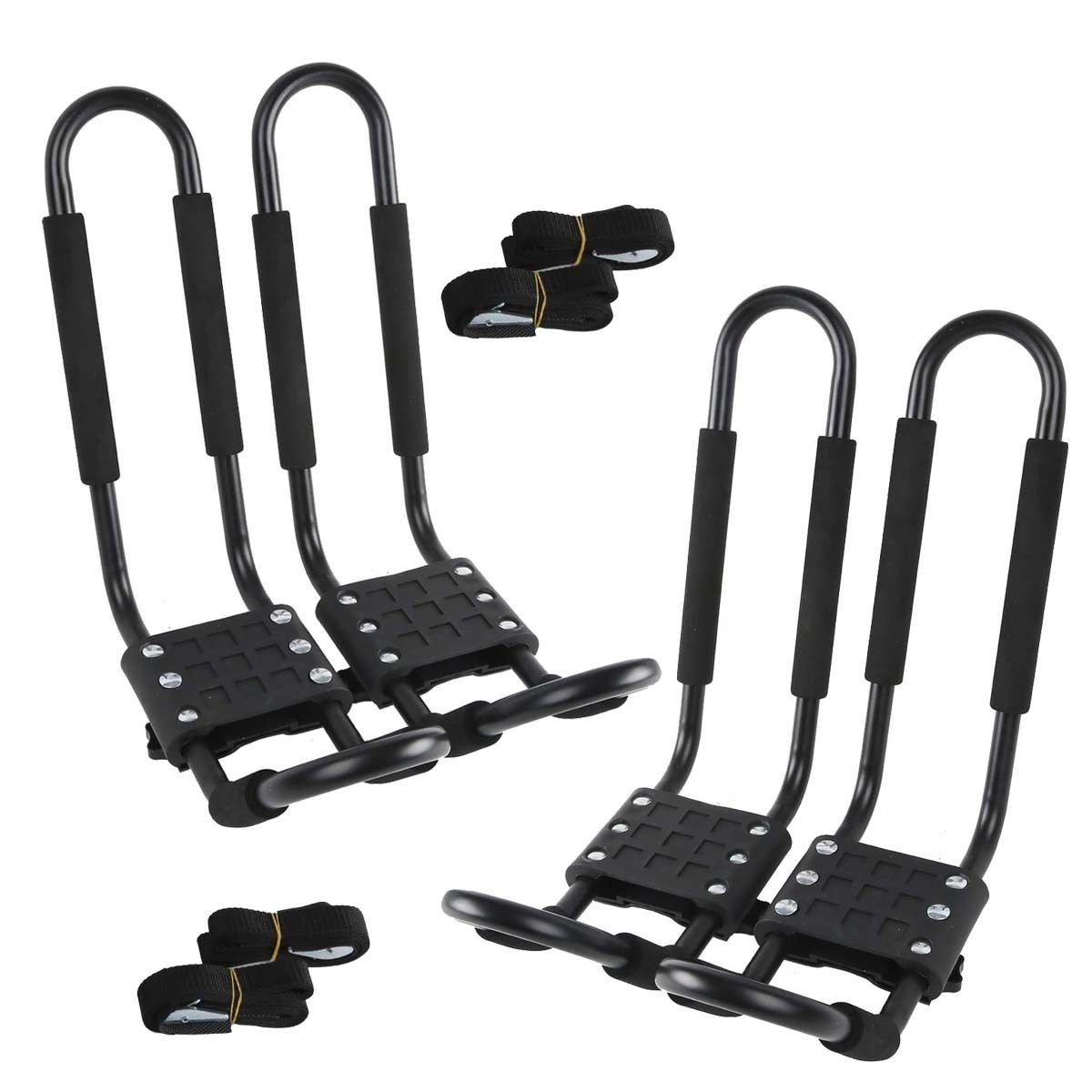 TC-Home 2 Pairs J-Bar Rack Kayak Holder 150 lbs Universal Roof Boat Canoe Car SUV Top Mount Carrier New