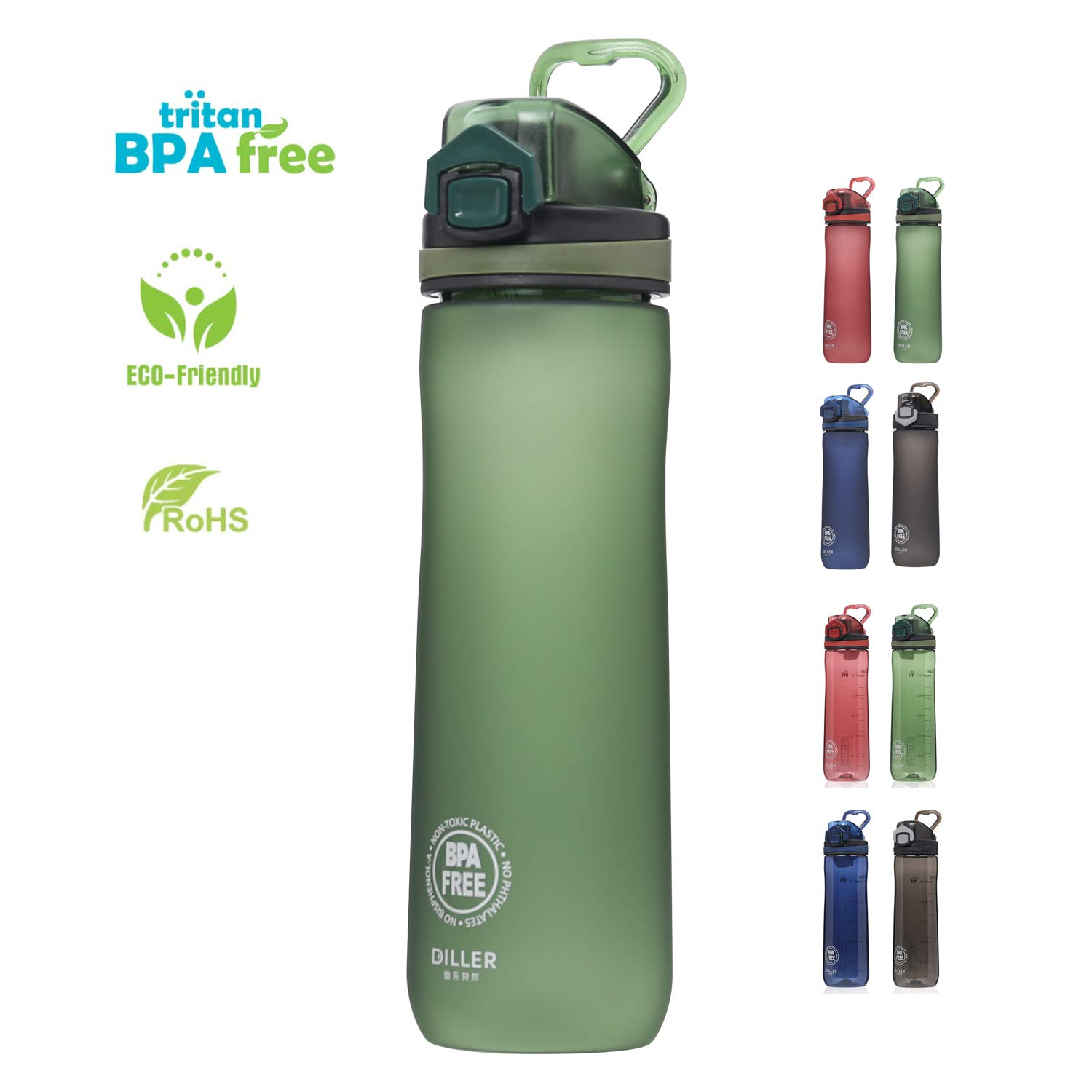 Diller 20-Ounce Sports Water Bottle for Kids with Locking Flip-Flop Lid US Tritan BPA-Free Reusable Travel Mug Fitness for Camping Training Bicycle Hiking Gym Outdoor