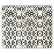 Quatrefoil Mouse Pad by Ambesonne, Edwardian Style Vintage Tessellation Pattern in Plain Colors Rich Floral Motifs, Standard Size Rectangle Non-Slip Rubber Mousepad, Taupe Beige