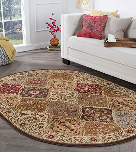 Cambridge Traditional Abstract Multi-Color Oval Area Rug, 5' x 7' Oval