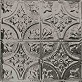 5 Pack of 24x24 Nail-Up Tin Ceiling Tiles - Pattern #2, Unfinished - Victorian Floral
