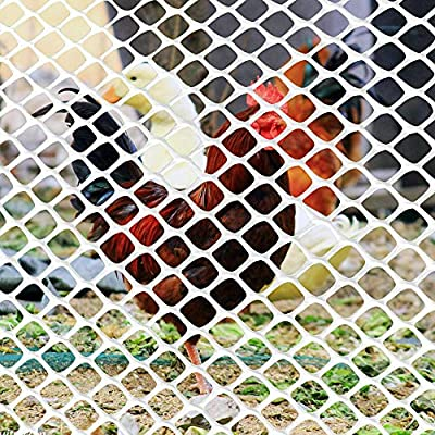 Ecover Poultry Fence Plastic Rabbit Fencing Poultry Netting Chicken Net for Chicken/Racoons/Gophor/Snakes, 6 x 30ft, White