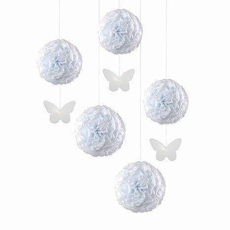3x rosa 25cm - 2x weiss 35cm 5x Pompons Anhänger Schmetterling Mix