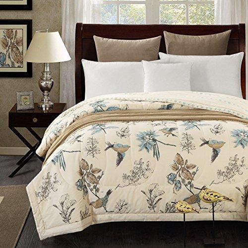 Svetanya - Birds Pattern Quilting Summer Quilt Comforter Queen Size Cotton Fabric Microfiber Filler