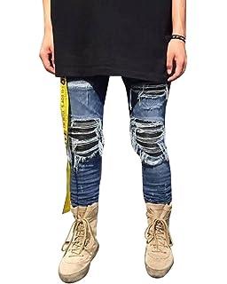 8294d8c1b45b3 Homme Déchiré Styles Patch Slim Fit Denim Pantalon Trou Biker Skinny Jeans