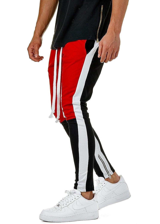 GETHIS Men Fashion Color Block Patchwork Jogging Pant Sports Hip Hop Track Trousers Long Slacks Slim Fit
