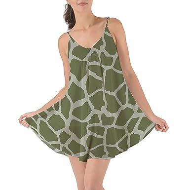 1549875ff8e18 Queen of Cases Bright Giraffe Print Army Green - XS - Beach Cover Up Dress