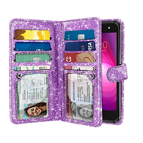 NEXTKIN Case Compatible with LG X Power 2 LV7, Shiny Glitter Dual Wallet Folio TPU Cover, 2 Pockets Double flap, Multi Card Slots Snap Button Strap For LG X Power 2 LV7 M320 5.5 inch - Light Purple ()