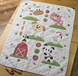 Plaid Farm Animals Crib Cover