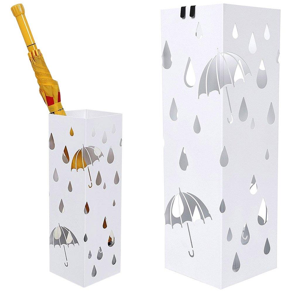 Bakaji Portaombrelli Stand in Ferro Design BAK1W Forma Quadrata Colore Bianco con Decorazione Intarsio Ombrelli e Gocce Vaschetta Salvagoccia e Ganci per Ombrelli Pieghevoli Dimensioni 49 x 15, 5 x 15, 5 cm