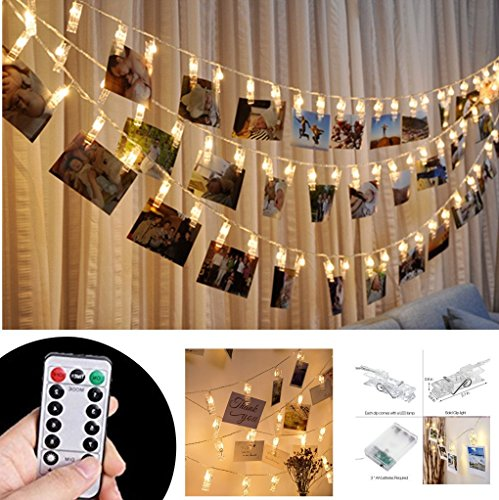 Ablest Set of 40 LED Photo Clip Clothespin Fairy String Lights (Warm White) - For Photos Cards and Artwork