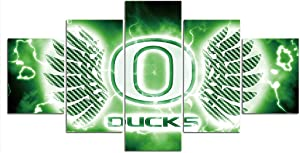 Oregon Ducks Wall Decor Art Paintings 5 Piece Canvas Picture Artwork Living Room Prints Poster Decoration Wooden Framed Ready to Hang(60''Wx32''H)