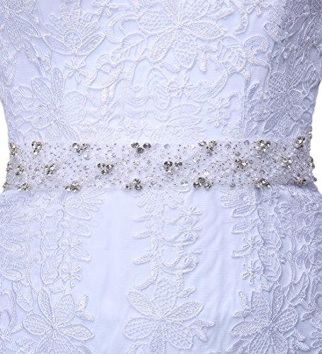 Weiß engerla Damen Spitze 1 Blume Kleid Bateau 2 Hochzeit nbsp;Sleeve Applikation Meerjungfrau PTFqrfPxw