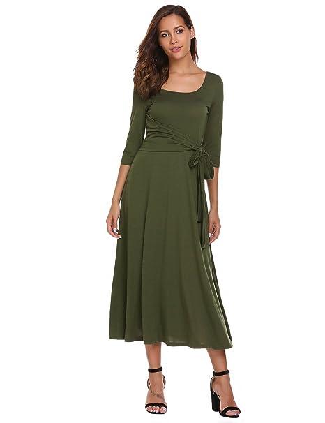 Zeagoo Womens Elegant Scoop Neck 3/4 Sleeve Pleated A-Line Swing Party Midi  Long Dress with Waist Tie