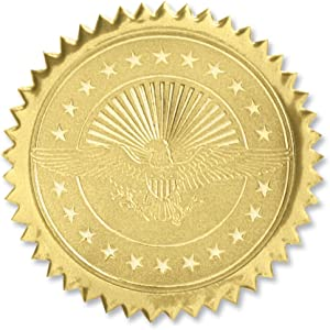 PaperDirect American Eagle Embossed Gold Certificate Seals, 102 Pack