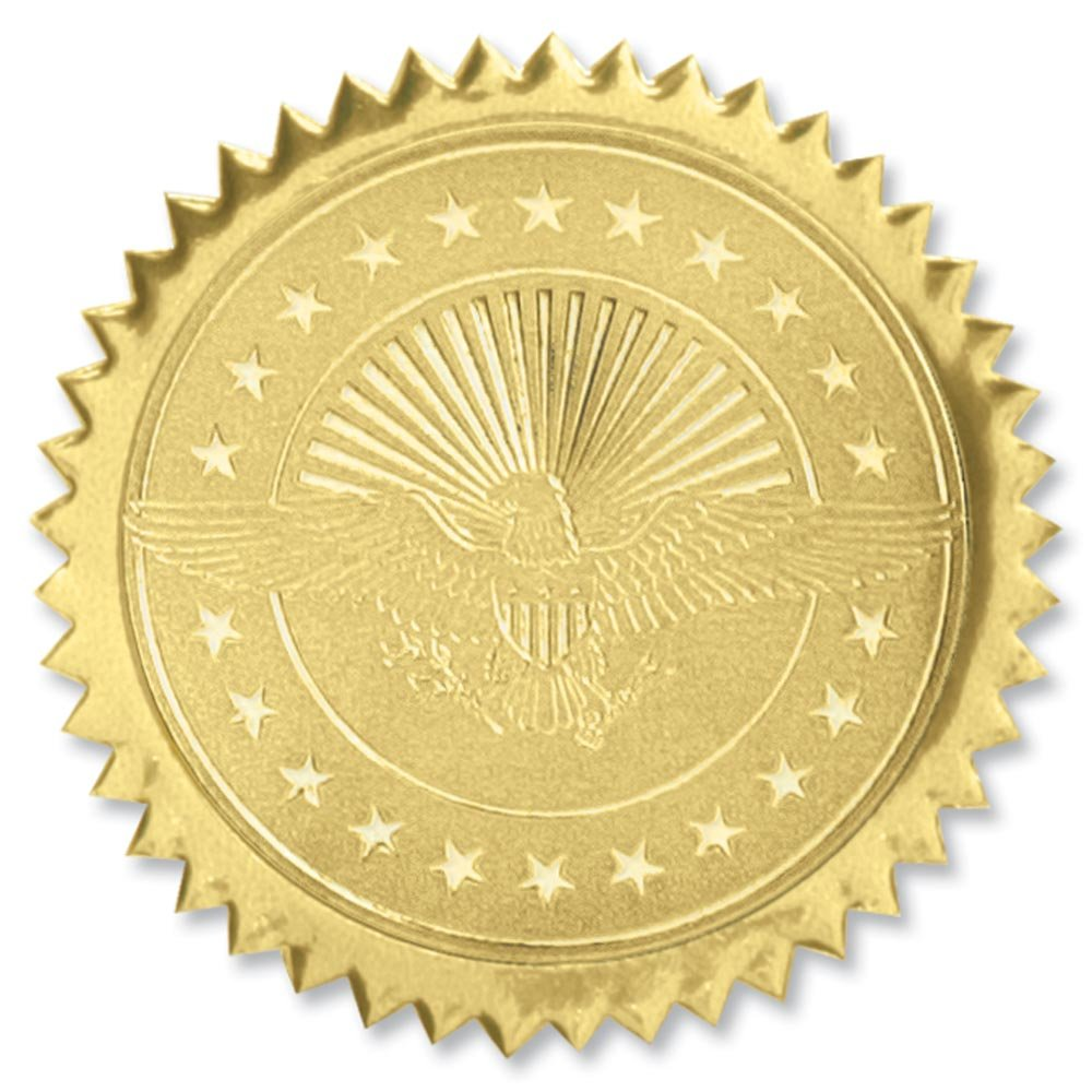 American Eagle Embossed Gold Foil Certificate Seals, 2 Inch, Self Adhesive, 102 Count